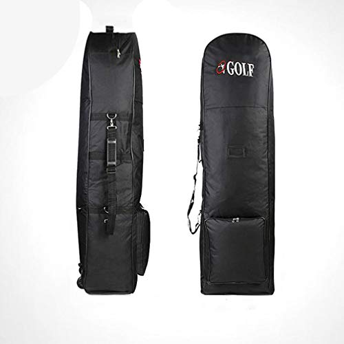 Padded Golf Bag Durable Travel Cover Case With Wheels Nylon Carrying Coverall(Black)