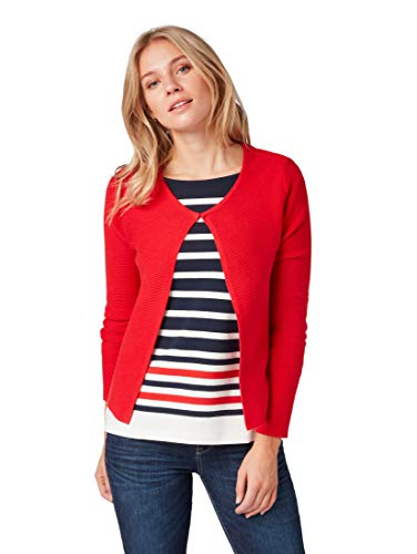 TOM TAILOR Damen 1007940 Strickjacke, Rot (Brilliant red 12880), XX-Large