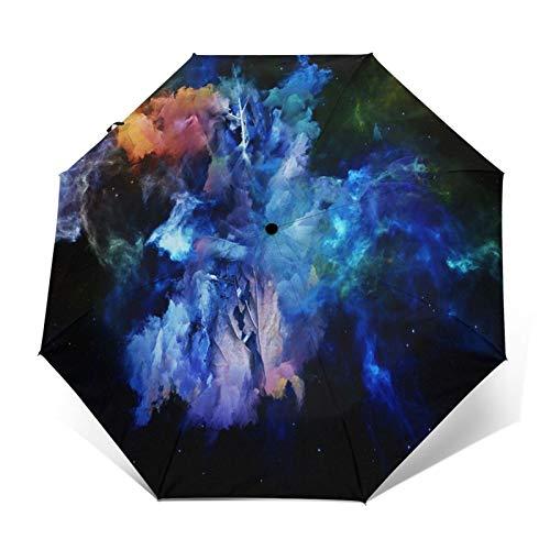 Regenschirm Taschenschirm Kompakter Falt-Regenschirm, Winddichter, Auf-Zu-Automatik, Verstärktes Dach, Ergonomischer Griff, Schirm-Tasche, Dead Remember Series