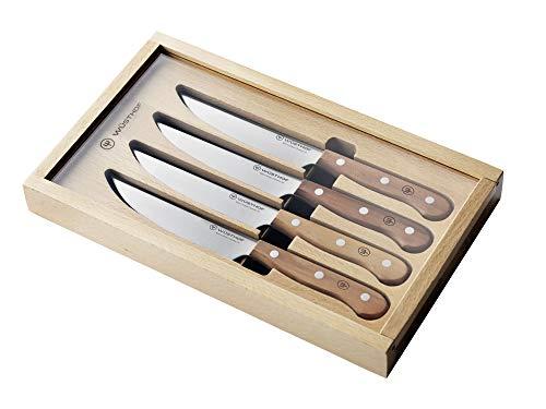 WÜSTHOF Steak Set (1069560402), 4-teilig, Steakmesser-Satz, Griffe aus Pflaumenholz, rostfreier Edelstahl, sehr scharfe Messer