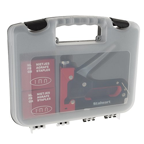Light Duty Staple Gun Kit- Stapler for Upholstery, Fabric, Wood, Crafts, Construction, Bulletin Board with Staples and Carrying Case by Stalwart, Red