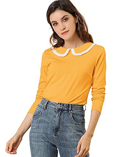 Allegra K Women's Peter Pan Collar Blouse Contrast Ruffle Sweet Work Long Sleeve Shirt X-Large Yellow