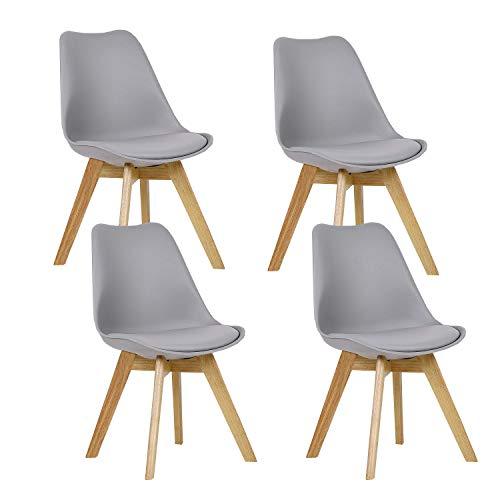 WAFTING 4er Set Esszimmerstühle Gepolsterter Stuhl mit Buchenholz-Beinen und Weich Gepolsterte Tulip Chair für Esszimmer Wohnzimmer Schlafzimmer Küche Besprechungsraum, (Gepolstert Grau)