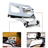 AUFER Detachable Two Up Mounting Luggage Rack 4 Point Docking Hardware Fits For Touring Road King Street Glide Road Glide 2014-2020 Tour Pak Pack Chrome