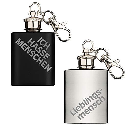 Schlüsselanhänger Couple mit Gravur Flachmann Set Lieblingsmensch Ich hasse Menschen 1 oz 29,5 ml Edelstahl Kleines Geschenk stetiger Begleiter Schwarz Silber