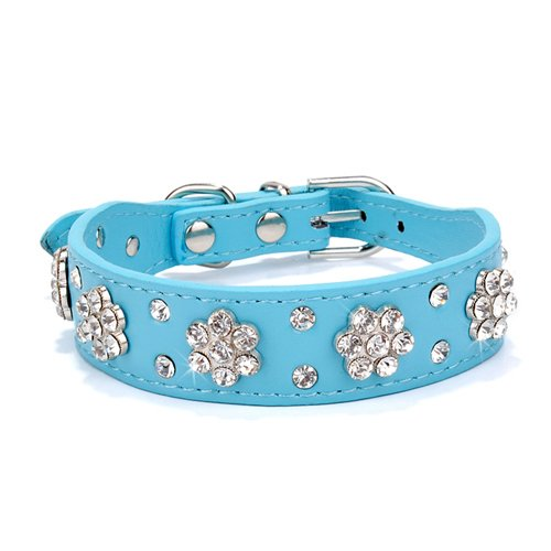 LHKMGH Rhinestone Remaches Cuello De Perro Cuello De Perro, Crystal Pet Perrito Perrito Collares para Pequeños Perros Medianos Rosa Azul,28~33cm