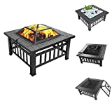 UpdateClassic 32'' Patio Fire Pit Table,Portable Courtyard Metal Fire Bowl,Backyard Garden Stove Square Table Fire Bowel Wood Burning Fireplace with Spark Screen,Grill (32'')