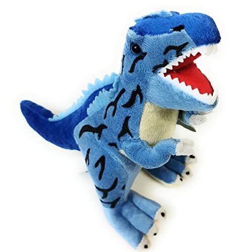 Beppe Peluche de dinosaurio para acurrucarse, regalo para animales, regalo de cumpleaños, cama infantil, peluche, juguetes blandos, idea de regalo Dino T-Rex Tyranosaurio de peluche, color azul
