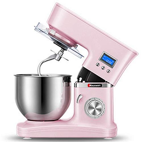 GAOLIGUO Amasadora 5L, 1200W 8 Velocidades Robot Cocina Multifuncional Mezclador de Alimentos Incluye 3 Accesorios de batido Amasadora para Repostería,Pink
