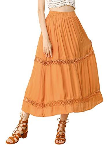 Allegra K Women's Long Skirts Elastic Waist Swing A-Line Lace Insert Maxi Skirt X-Small Orange