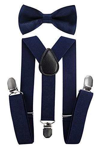 axy Hochwertige Kinder Hosenträger-Y Form mit Fliege- 3 Clips EXTRA STARK-Uni Farben (Schwarzblau)