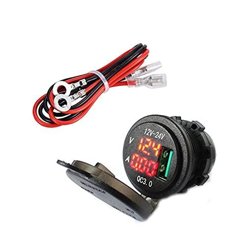 LED DC Digital Voltaje de corriente Medidor de corriente Cargador USB CARGO RÁPIDO 3.0 Teléfono Adaptador de encendido Toma de enchufe para motocicleta de 12V 24V (Color : 1 Piece Red)