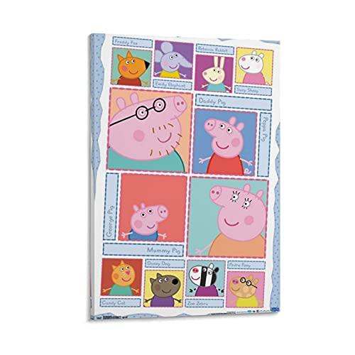 JHGB Peppa Pig Character Grid Leinwand Kunst Poster und Wandkunst Bilddruck Moderne Familienzimmer Dekor Poster 24x36inch(60x90cm)