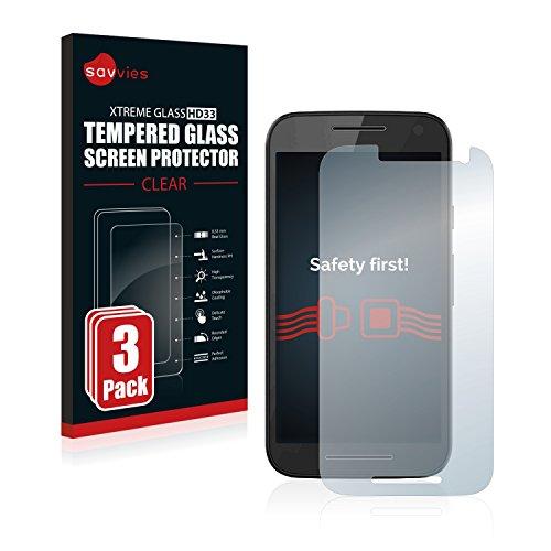 Savvies Panzerglas kompatibel mit Motorola Moto G3 / G 3. Generation (3 Stück) - Echt-Glas, 9H Festigkeit, Anti-Fingerprint