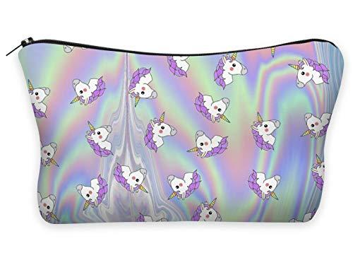 Trousse Scolaire Sac a Crayon Trousse de Toilette Trousse en Cuir Plumier Organisateur Trousse a Maquillage Licornes Unicorns [009]