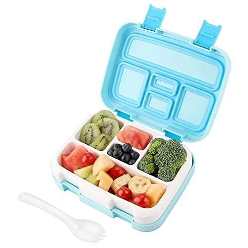 AUCHIKU Lunch Box,Bento Boîte avec 5 Compartiment pour Enfant /Adult, Homme/Femme,Convient au Micro Ondes et au Lave-Vaisselle -800ML(Bleu)