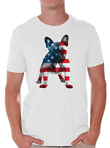Awkward Styles Men's USA Flag French Bulldog Cute T Shirt Tops 4th of July Party Pet Lover White L