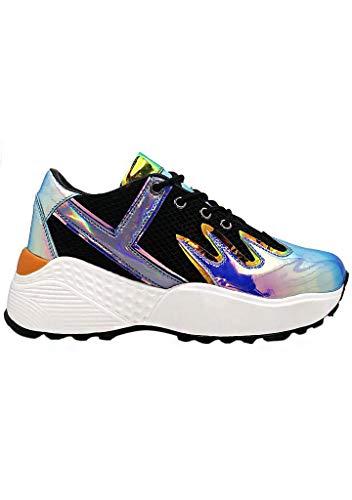 YRU Y.R.U Blaz3 Platform Sneakers in Black/Blue (7)