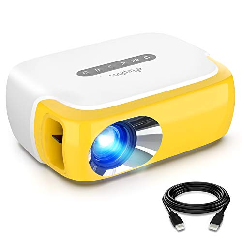 Mini Projector, ELEPHAS Portable LED Full Color Video Projector for Cartoon, TV Movie, Kids Gift, Party Game, Pico Movie Projector for Home Theater with HDMI USB TV AV Interfaces and Remote Control