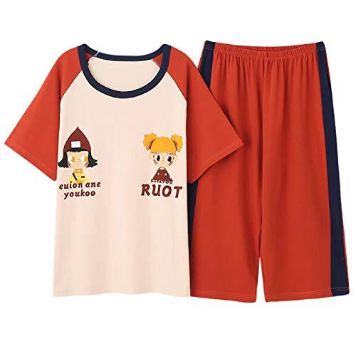 Conjunto de Pijama de Mujer de Dibujos Animados de algodón 100% con Cuello Redondo Casual de Talla Grande M-5XL Pijama Femenino Top Corto + Pantalones Cortos