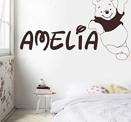 Ziruixiong Nombre Personalizado The Pooh Wall Sticker Traducción Infantil Para The Nursery Custom Bear Name Home Decor Vinyl 96X57Cm