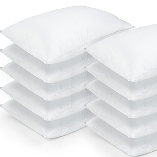 "DOWNLITE 10 Pack Hotel Style Hypoallergenic Down Alternative Value Pillow - Soft/Medium Density - Jumbo 20"" x 28"" - Sham Stuffer - Great Deal"