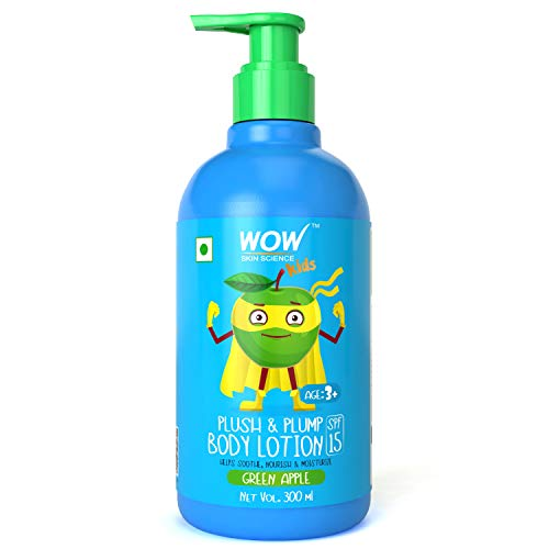 WOW Skin Science Kids Plush & Plump Body Lotion - Green Apple - SPF 15 - No Parabens, Mineral Oil, Silicones & Color - 300mL