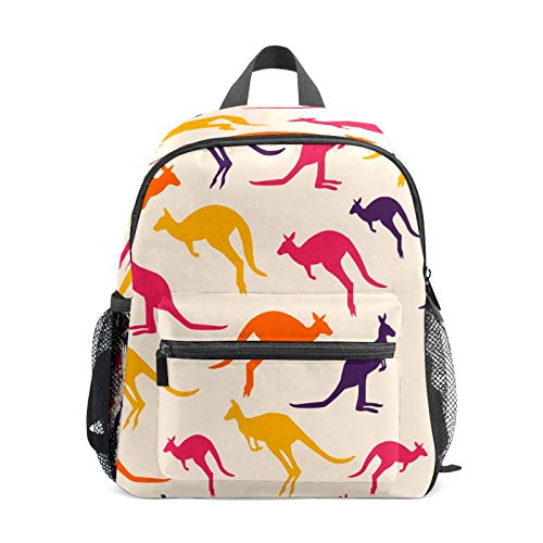 Kids Backpack Preschool Kids School Bag Boy Girl Lightweight Shoulder Book Bag for 1-6 Years Old Perfect Back Pack for Toddler to Kindergarten Austrilian Kangaroos Purple Yellow Pink Orange