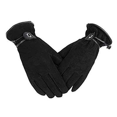 Touch Screen Gloves for Women Touchscreen Deerskin Suede Leather Winter Cold Proof Thermal Silky Velour Lining Hands Warm Gifts (Black,X-Large)