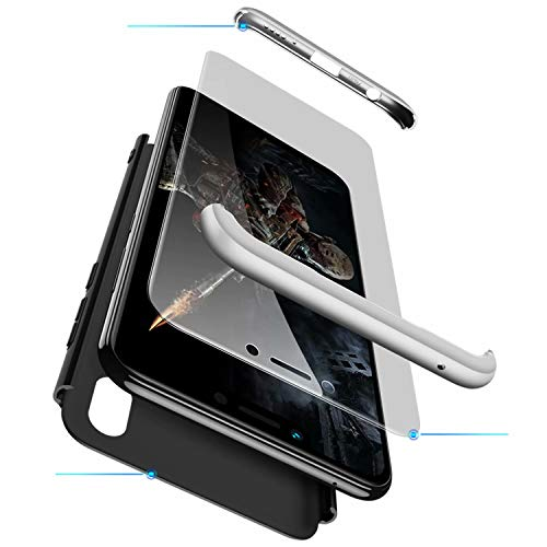 TXLING Coque Xiaomi Redmi Note 6 Pro Étui 360°Housse de Protection PC Hard Shell Anti-Choc Corps Entire Full-Cover Case Casque de Protection Matte 3 en 1(Silver Black) + 1 Pièces Verre trempé …