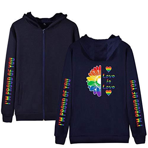Bandera del Arco Iris, LGBT 2021, Jersey De Manga Larga para Parejas, Europeo Y Americano De Manga Larga, Sudadera con Capucha Suelta/Darkblue / 2XL
