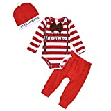 puseky Baby Boy Il Mio Primo Pagliaccetto a Maniche Lunghe a Righe Vestito di Natale + Pantaloni + Cappello Abiti Natalizi Set