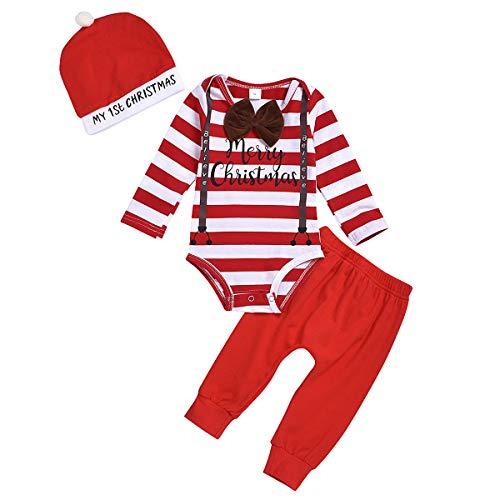 puseky baby boys my first christmas outfit streifen langarm strampler + hose + hut weihnachten kleidung set