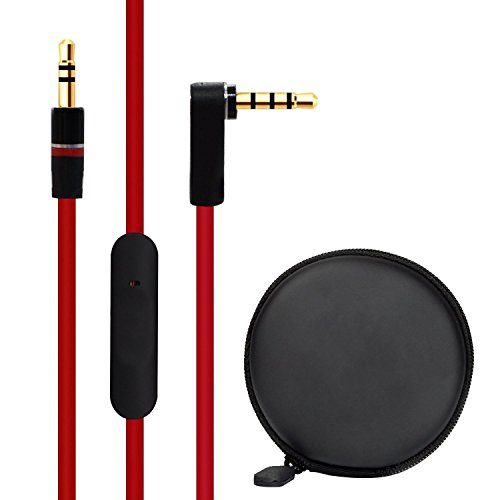Bluelark Original Replacement Audio Cable Beats 3.5mm Cord Wire with Mic and Control + Small Earphone Case for Beats by Dr Dre Headphones Solo/Studio/Pro/Detox/Wireless/Mixr/Executive/Pill