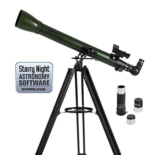 Celestron ExploraScope AZ - Telescopio astronómico (60 mm de Apertura, 700 mm de Distancia Focal, f/12 de relación Focal) Color Verde y Negro