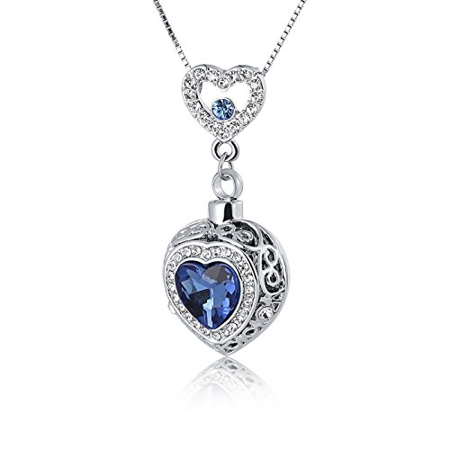 ANAZOZ Stainless Steel Pet Loss Memorial Cremation Necklace for Ash Keepsake Pendant Crystal Oval Bottle