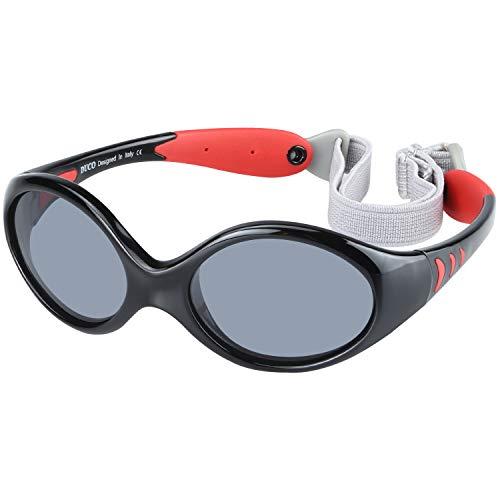 DUCO Kinder Sonnenbrille Polarisierte Sportbrille TPEE Flexibeles Gestell für Baby Mädchen oder Junge 0-24 Monate K012 (Black)