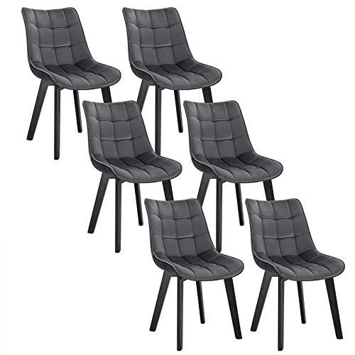 EUGAD 6 X Chaises Salon à Manger Pieds en Bois et Surface en Velours,Chaises de Salle à Manger Gris Foncé Polyvalent,0654BY-6
