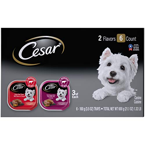 CESAR Soft Wet Dog Food Loaf & Topper in Sauce Angus Beef Flavor with Bacon & Cheese and Porterhouse Steak Flavor with Peas & Carrots Variety Pack, (6) 3.5 oz. Easy Peel Trays