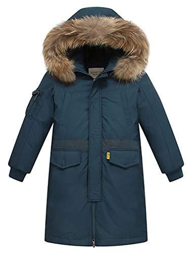 FTCayanz Kinder Daunenjacken Winterjacke mit Kapuze Lang Jacken für Jungen Mädchen Mäntel warm Wintermantel Dunkelgrün 13-14 Jahre/Körpergröße 160-170