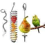 VogelFruchthalter, Edelstahl Futterspieß, Papagei Obst- und Gemüsehalter vogelkäfig zubehör, Hängende Futtermittel Behandlungswerkzeug für Wellensittiche Sittich Nymphensittiche Kanarische (Stil 2)
