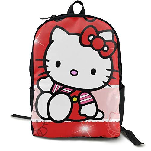 Hello Kitty Cartoon Anime Lindo Gato Rojo Adulto Niños Mochila Durable Viaje Negocio Portátil Escuela Trabajo al Aire Libre Impermeable Hombres y Mujeres Regalos Universitarios 5.5x12.5x16.5 pulgadas