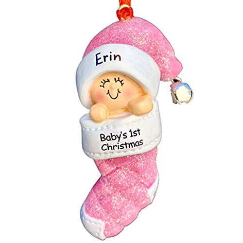 Babys 1st Christmas, Girl Christmas Ornament - Free Personalization, Ornament Central Baby in Christmas Stocking Pink