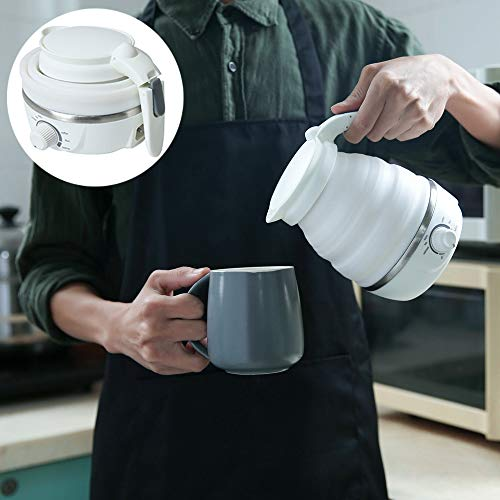 Collapsible Electric Kettle Wter Boiler Separable Power Cord Foldable handle Food Grade Silicone Portable Travel Dual Voltage 110-220V 800w UL plug Mini 0.6L White