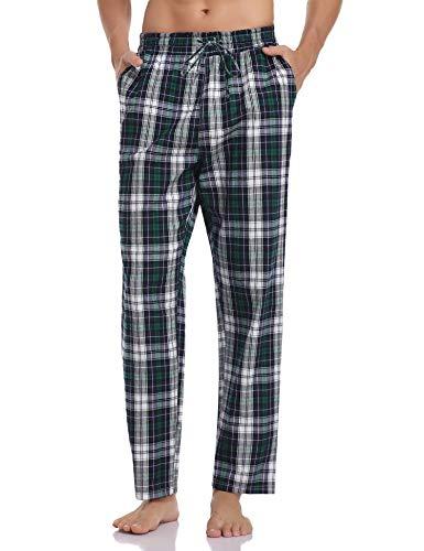 Hawiton Herren Schlafanzughose Lang Kariert Pyjamahose Freizeithose Loungewear Nachtwäsche Sleep Hose Pants aus 100% Baumwolle Blau+Grün+Weiß M