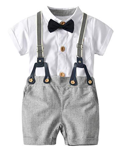 Happy Cherry - Baby Taufanzug Jungen Kinderanzug Kurzarm Sommer für Hochzeit Party Zeremonie Formal Kleidung Gentihombre für Kleinkinder 6-12 Monate