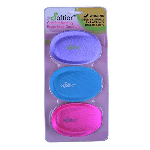 Softior Comfort Memory Foam Heel Cushions for Flat Walking Shoes, Pack 3-Pairs