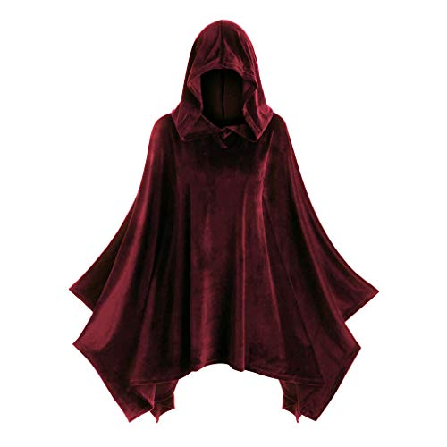 LOPILY Umhang Kleid mit Kapuze Vintage Wasserfall Samtumhang Cape Vampir Kostüm Halloween Damen Cosplay Umhang Prop für Halloween Masquerade Mittelalter Bekleidung Karneval Kostüme (Rot, 40)