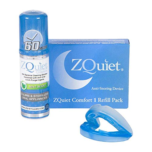 ZQUIET Anti-Snoring Mouthpiece Solution, Comfort Size #1 Refill ONLY (Single Device) + Anti-Bacterial Cleaner (1.5oz Bottle) - Made in USA & FDA Cleared, Sleep Aid, Dentist Designed Oral Appliance