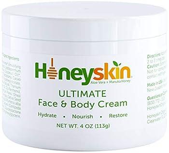 Manuka Honey Cream Face Moisturizer and Body Lotion - Eczema Honey Organic Face Moisturizing Cream For Dry Itchy Sensitive Skin - Face Lotion for Redness Eczema Rosacea - Skin Tightening Cream - Natural Aloe and Coconut Oil  4oz